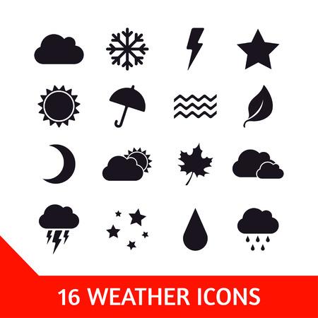 estado del tiempo: Vector conjunto de dieciséis iconos del tiempo. Ilustración de la naturaleza Vectores