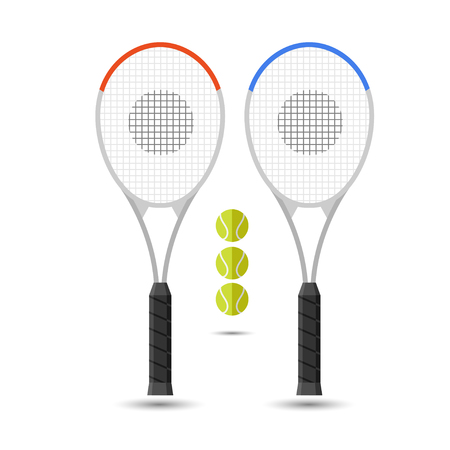 bounces: Vector set of tennis rackets and tennis balls. Sport illustration