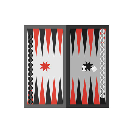 backgammon: Vector flat simple backgammon table with dices icon.  Sport illustration