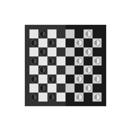 checkers: Vector flat simple checkers board icon.  Sport illustration