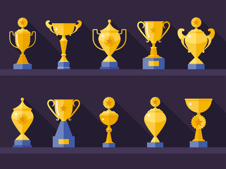 Vector flat golden goblet  icon set with long shadow. Winner award. Eps10 Illustration