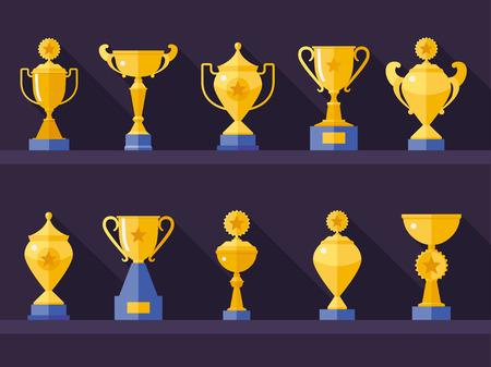 Vector flat gouden beker pictogrammen set met lange schaduw. Winnaar award. Eps10 Stock Illustratie