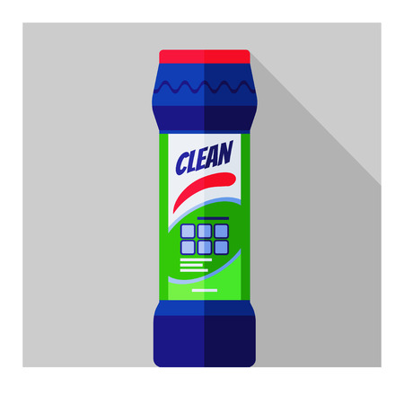 Vector flat bottle with cleaning powder for kitchen, bathroom, toilet Illustration