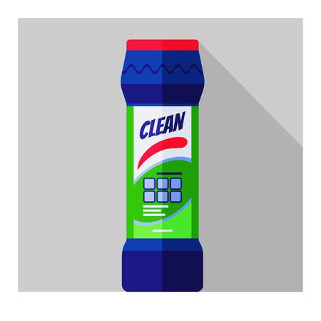 cocina limpieza: Vector plana frasco con polvo de limpieza de cocina, ba�o, aseo