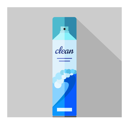 freshener: Vector flat air freshener aerosol bottle. Ocean Illustration