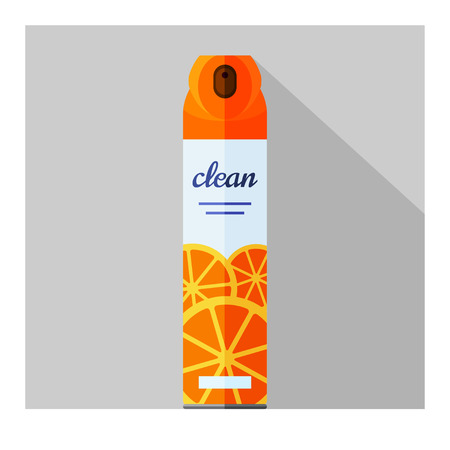 freshener: Vector flat air freshener aerosol bottle. Citrus fresh Illustration