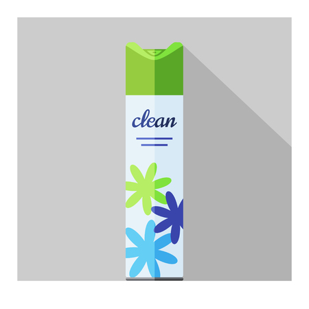 freshener: Vector flat air freshener aerosol bottle. Flower fresh