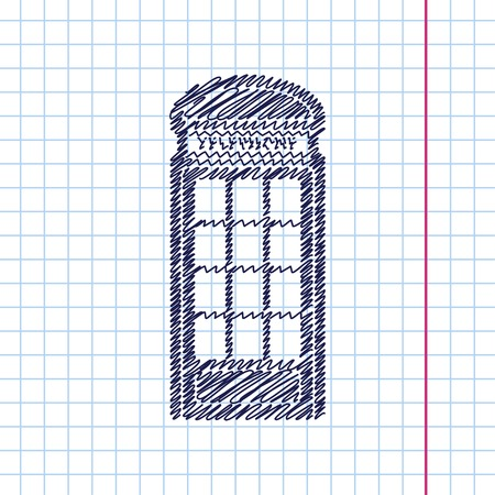 telephone box: Vector telephone box icon isolated on copybook background. Eps10