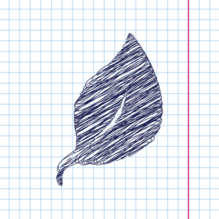 Vector leaf icon isolated on copybook background. Eps10