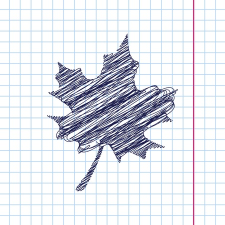 maple leaf icon: Vector maple leaf icon isolated on copybook background. Eps10