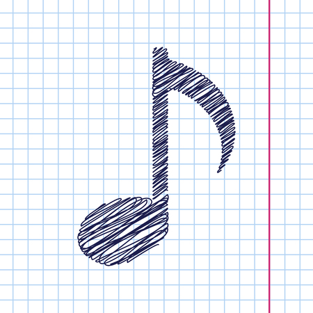 eight note: Vector music icon isolated on copybook background. Eps10
