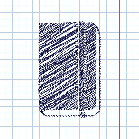 periodicals: Vector book icon isolated on copybook background. Eps10