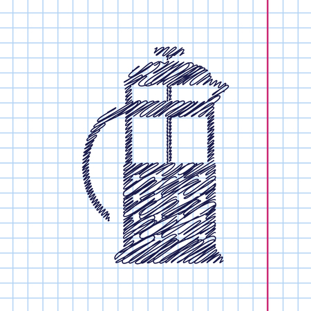 steel mill: Vector franch press icon isolated on copybook background. Eps10