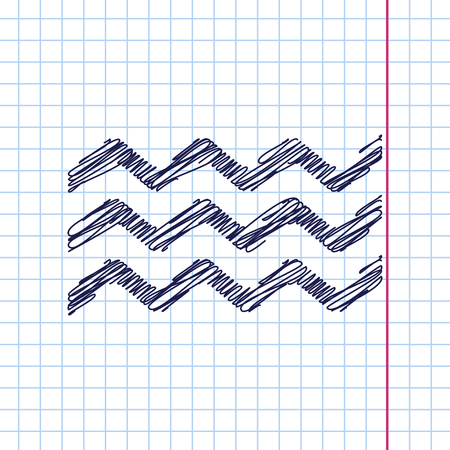crankle: Vector waves icon isolated on copybook background. Eps10