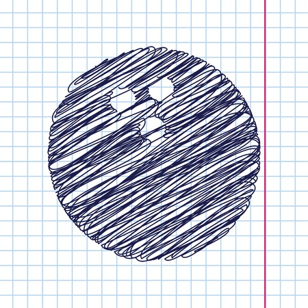 hole in one: Vector bowling ball icon isolated on copybook background. Eps10