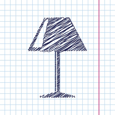 lampshade: Vector reading-lamp icon isolated on copybook background. Eps10