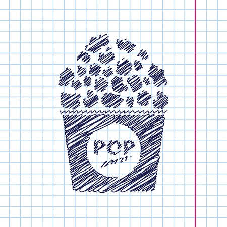 corn icon: Vector pop corn icon isolated on copybook backgrond. Eps10 Illustration