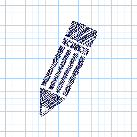 eraser mark: Vector pencil icon isolated on copybook background. Eps10 Illustration