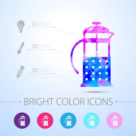 masher: Vector watercolor franch press icon with infographic elements Illustration