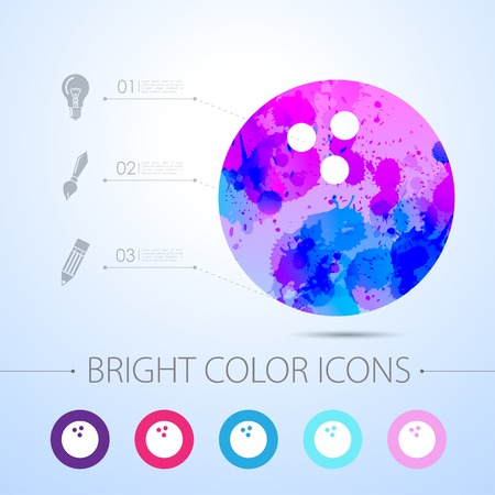 sports shell: Vector watercolor bowling ball icon with infographic elements