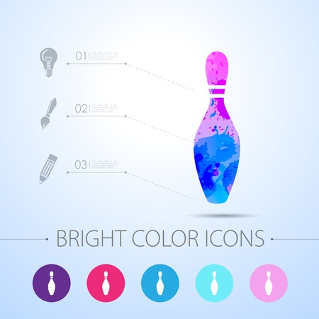 kegelen: Vector watercolor skittle icon with infographic elements