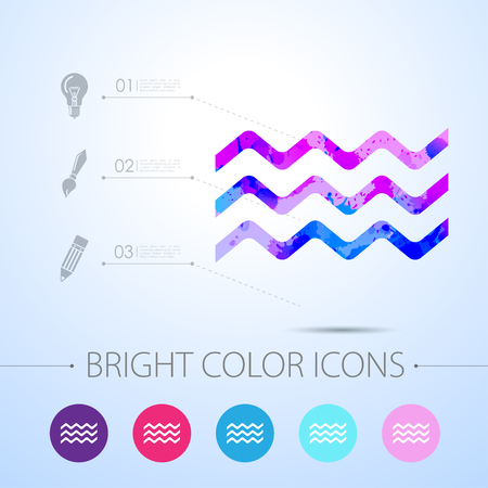 crankle: Vector watercolor waves icon with infographic elements