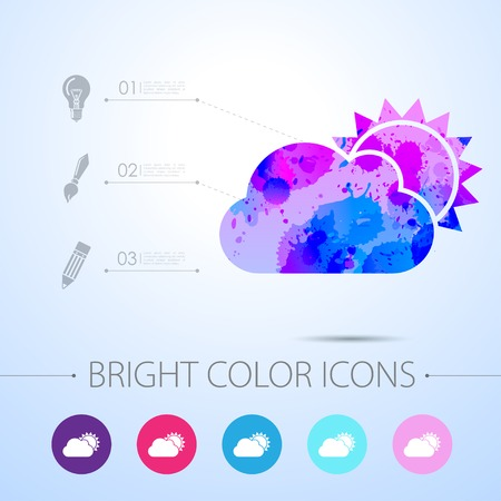 cloudiness: Vector watercolor cloudiness icon with infographic elements