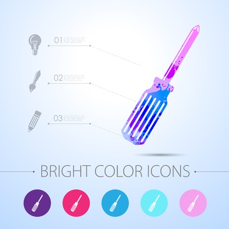 Vector watercolor phillips screwdriver icon with infographic elements