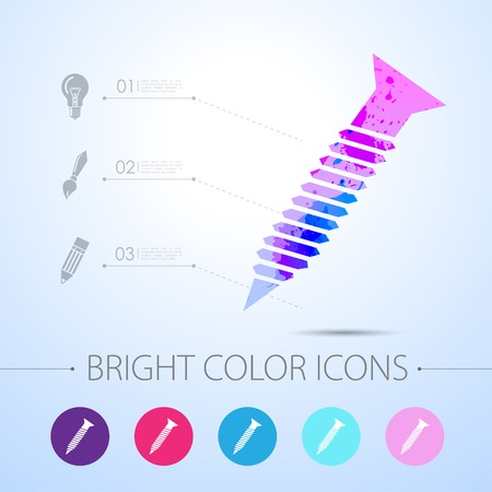 mend: Vector watercolor screw icon with infographic elements