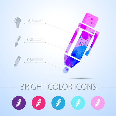 watercolor pen: Vector watercolor pen icon with infographic elements