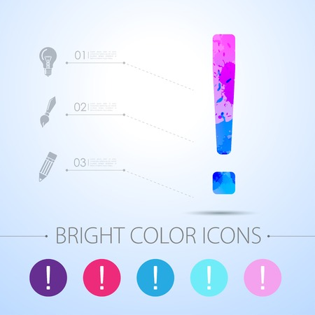 exclaim: Vector watercolor flat exclamation mark icon  with infographic elements