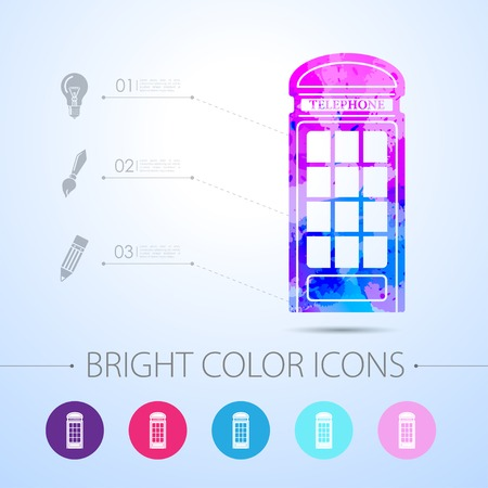 telephone box: Vector watercolor telephone box icon with infographic elements