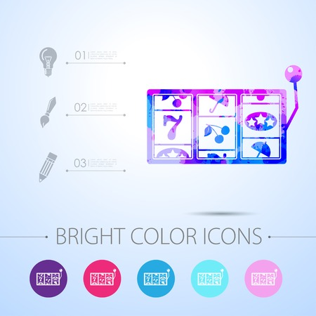 Vector watercolor slot icon with infographic elements Vectores