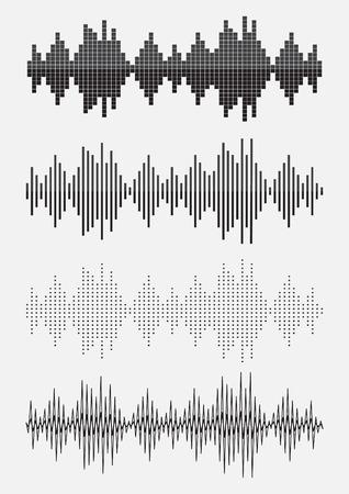 sonic: Vector sound waves set. Sound equalizer graphic set. Vector illustration
