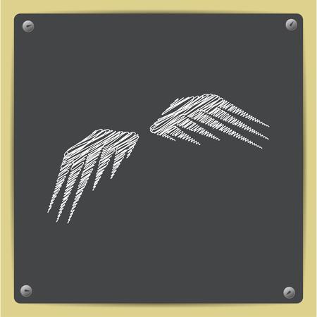 wings icon: Vector chalk drawn sketch of wings icon on school blackboard