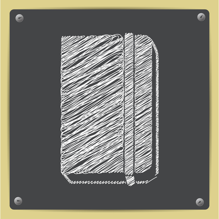 periodicals: Vector chalk drawn sketch of book icon on school blackboard