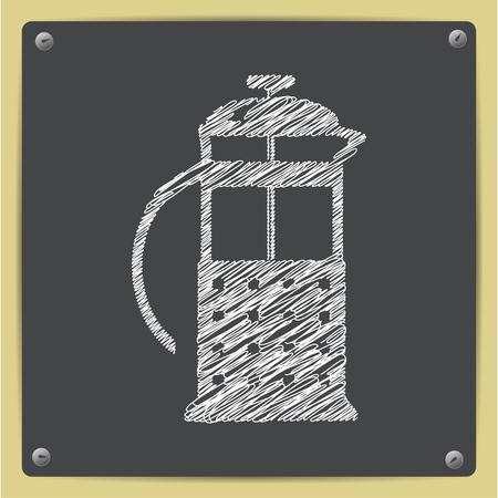 masher: Vector chalk drawn sketch of franch press icon on school blackboard