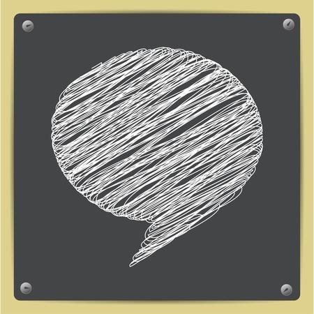 callout: Vector chalk drawn sketch of callout icon on school blackboard Illustration