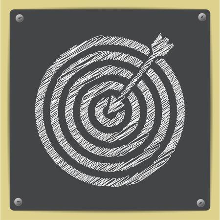 Vector chalk drawn sketch of target with dart icon on school blackboard Çizim