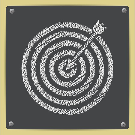Vector chalk drawn sketch of target with dart icon on school blackboard Illustration