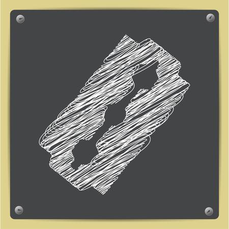 blade: Vector chalk drawn sketch of blade icon on school blackboard