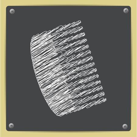 hairbrush: Vector chalk drawn sketch of  hairbrush icon isolated  icon on school blackboard