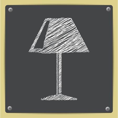 lampshade: Vector flat reading-lamp icon on school blackboard