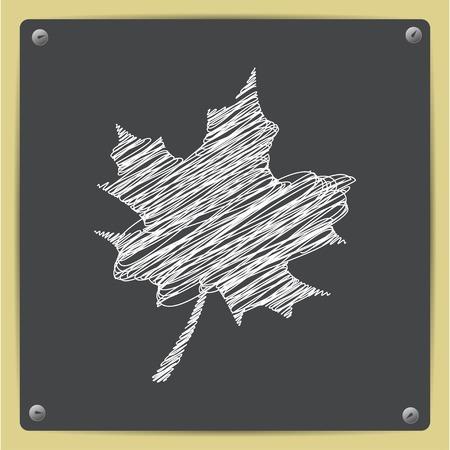 maple leaf icon: Vector sketch maple leaf icon on school blackboard Illustration