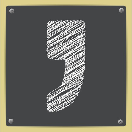 comma: Vector flat comma icon on school blackboard Illustration