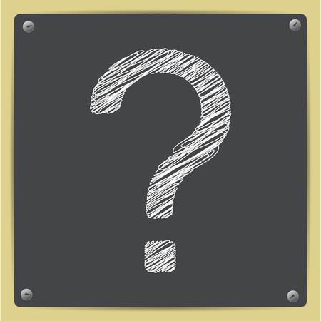 Vector schets flat pictogram met een vraagteken op schoolbord