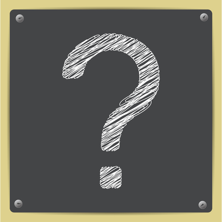 questions: Vector sketch flat question mark icon on school blackboard