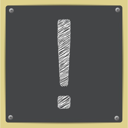 exclaim: Vector sketch flat exclamation mark icon on school blackboard Illustration