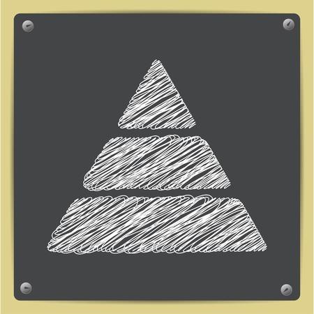 picto: Vector sketch pyramid icon on school blackboard Illustration