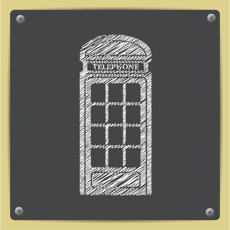 telephone box: Vector sketch telephone box icon on school blackboard